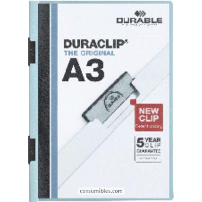 Dossiers con clip ENVASE DE 10 UNIDADES DURABLE DOSSIERS CLIP DURACLIP A3 AZUL PVC 221806