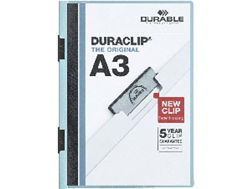 ENVASE DE 10 UNIDADES DURABLE DOSSIERS CLIP DURACLIP A3 AZUL PVC 221806
