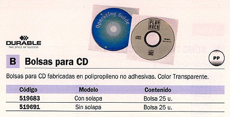 DURABLE FUNDAS CD-DVD 25 UD CON SOLAPA NOPOLIPROPILENO TRANSPARENTE 5245-19