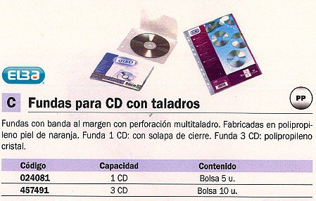 ELBA FUNDAS CD-DVD 5 UD PERFORACIÓN MULTITALADRO FUNDA 1 CD: CON SOLAPA DE CIERRE. 100551464