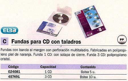 ELBA FUNDAS CD/DVD 10 UD 3 CD S CON TALADROS POLIPROPILENO PIEL DE NARANJA 100206995