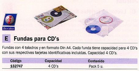PARDO FUNDAS CD-DVD 5 UD CON 4 TALADROS EN FORMATO A4 Y CAPACIDAD PARA 4 CD´S CADA FUNDA 2184