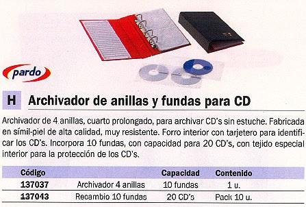 PARDO ARCHIVADOR CD/DVD CAPACIDAD 20 DISCOS 182