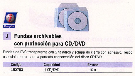 ENVASE DE 10 UNIDADESIBERPLAS FUNDA CD/DVD ARCHIVABLES 2 CD/DVD PVC TRANSPARENTE 479P