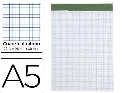 Blocs de notas ENVASE DE 6 UNIDADES BLOC NOTAS LIDERPAPEL CUADRO 4 MM A5 80 HOJAS 60 G/M2 PERFORADO SIN TAPA