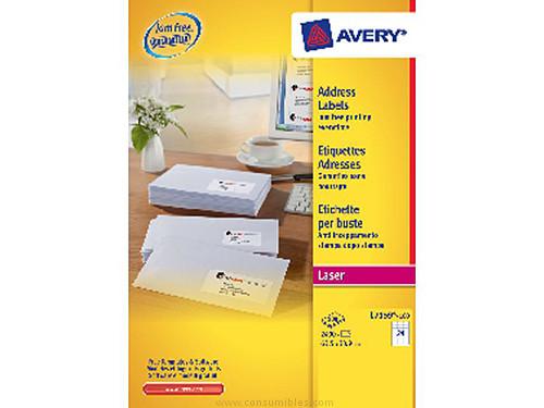 AVERY ETIQUETAS LASER QUICKPEEL CAJA 100 HOJAS 6500 UD 38,1X21,2 L7651-100