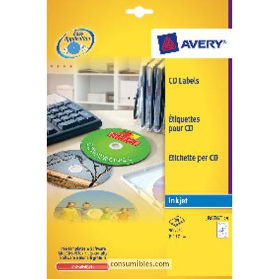 AVERY ETIQUETAS MULTIMEDIA PARA CD/DVD CAJA 25 HOJAS 117 MM INKJET MATE J8676-25