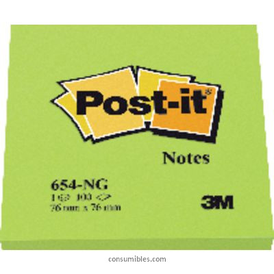 ENVASE DE 6 UNIDADES POST IT NOTAS ADHESIVAS 100H VERDE NEON 76X76 MM FT510010182