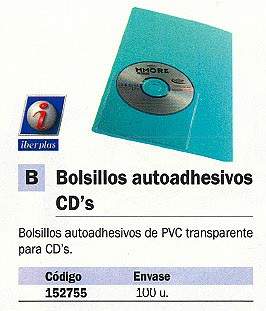 ENVASE DE 100 UNIDADES UNIPAPEL BOLSILLO AUTOADHESIVO 100 UD PVC TRANSPARENTE PARA CD 479ACD10