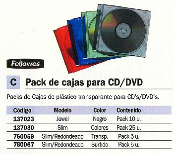 FELLOWES PACK 25 CAJAS CD/DVD SLIM COLORES SURTIDOS98317