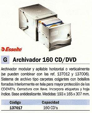 LEITZ ARCHIVADOR CD/DVD CAPACIDAD 160 DISCOS CERRADURA LLAVE 67092