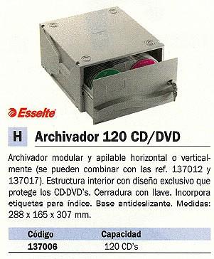 LEITZ ARCHIVADOR CD/DVD CAPACIDAD 120 DISCOS MODULAR Y APILABLE 067228