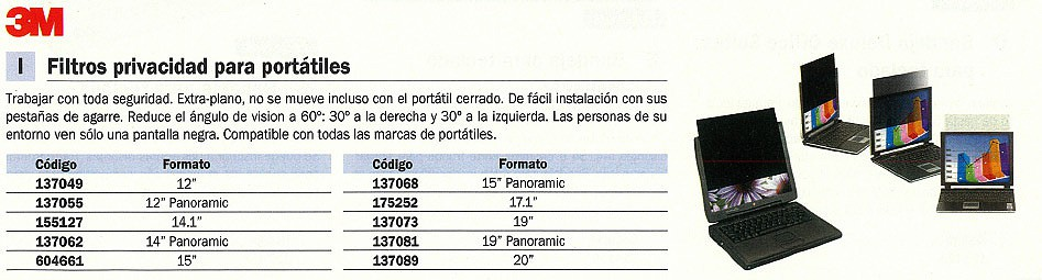 3M FILTRO PRIVACIDAD PF15 PARA MONITOR 14.1PULGADAS 98044054033