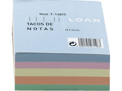 LOAN TACO NOTAS ADHESIVAS 500H COLORES SURTIDOS 100X100 MM T 148/C