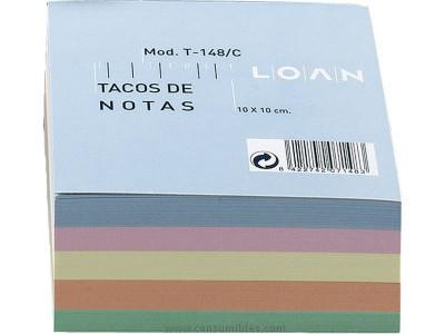 LOAN TACO NOTAS ADHESIVAS 500H COLORES SURTIDOS 100X100 MM T 171/C