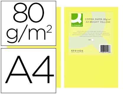 DIN A4 PAPEL COLOR Q-CONNECT DIN A4 80GR AMARILLO INTENSO PAQUETE DE 500 HOJAS