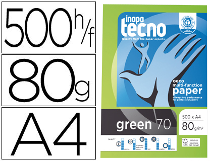 DIN A4 PAPEL FOTOCOPIADORA TECNO GREEN 100 PORCIENTO RECICLADO DIN A4 80 GRAMOS PAQUETE DE 500 HOJAS