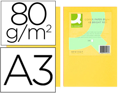 PAPEL COLOR Q CONNECT DIN A3 80 GR AMARILLO PAQUETE DE 500 HOJAS KF18006