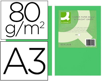 PAPEL COLOR Q-CONNECT DIN A3 80GR VERDE INTENSO PAQUETE DE 500 HOJAS