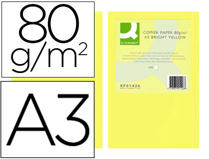PAPEL COLOR Q-CONNECT DIN A3 80GR AMARILLO INTENSO PAQUETE DE 500 HOJAS