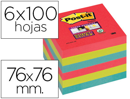 POST IT NOTAS ADHESIVAS PACK 6 BLOCS COLORES SURTIDOS 76X76 MM 654 6SS JP