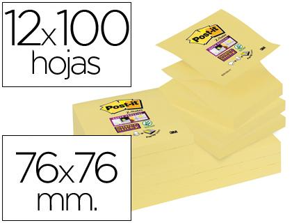 Blocs de notas BLOC DE NOTAS ADHESIVAS QUITA Y PON POST-IT SUPER STICKY 76X76 MM ZIGZAG CON 12 BLOC AMARILLO CANARIO