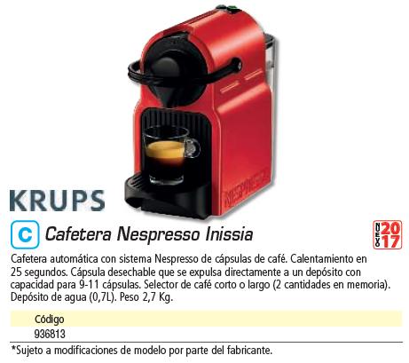 Comida KRUPS CAFETERA NESPRESSO INISSIA ROJA XN1005P4