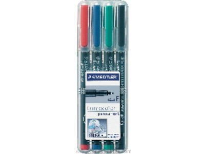STAEDTLER PERMANENTE LUMOCOLOR EST.4 UD TRAZO 0,4 MM PUNTA SUPERFINA COLORES SURT. 313WP4
