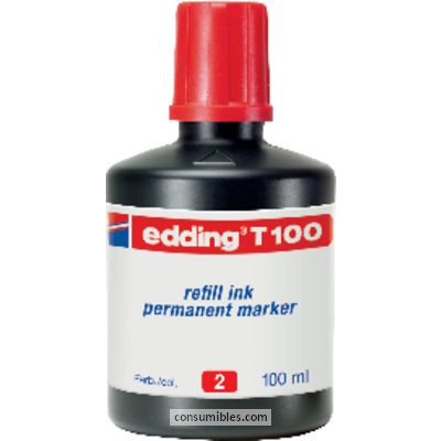 Tinta de rellenado EDDING FRASCO DE TINTA T-100 ROJO 100 ML T100-02