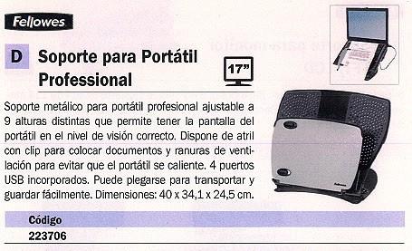 FELLOWES SOPORTE PARA PORTATIL METÁLICO AJUSTABLE ALTURA 4 PUERTOS USB OK 8024602
