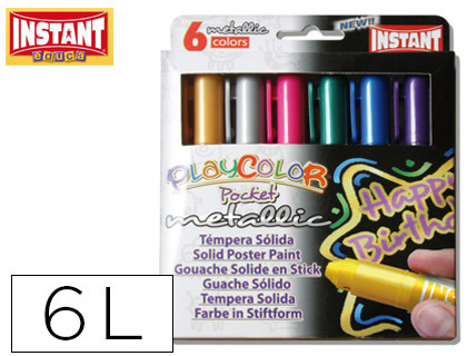 TEMPERA SOLIDA EN BARRA INSTANT POCKET ESCOLAR CAJA DE 6 COLORES METALIZADOS