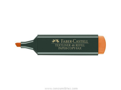 ENVASE DE 10 UNIDADES FABER CASTELL FLUORESCENTE RECARGABLE TEXTLINER 48 NARANJA 154815