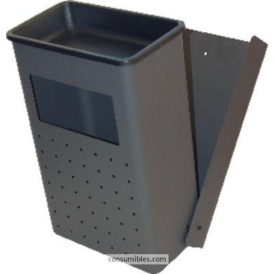 Papeleras metalicas SIE CENICERO-PAPELERA DE PARED METALICA NEGRO 30 LITROS 414-O
