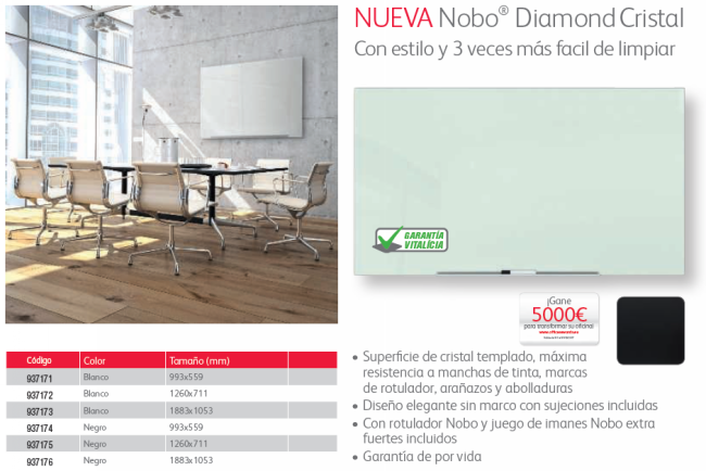 NOBO PIZARRA DIAMOND GLASS BLANCO 993X559 1905176