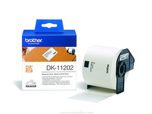 BROTHER ETIQUETA 300 UD 62X100 MM NEGRO/BLANCO DK11202