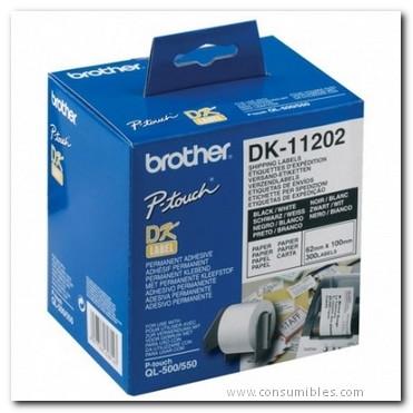 Rotuladoras BROTHER ETIQUETA 300 UD 62X100 MM NEGRO/BLANCO DK11202
