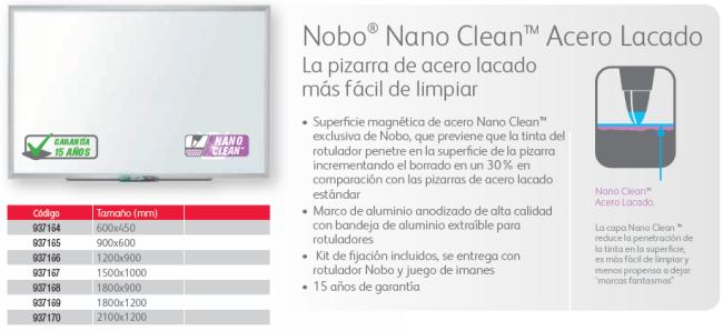 Conferencia y presentacion NOBO PIZARRA NANO CLEAN STEEL 600X450 1905166