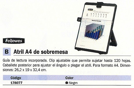 FELLOWES ATRIL GUIA DE LECTURA CLIP HASTA 120 H CABALLETE POSTERIOR 21106