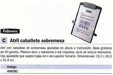 FELLOWES ATRIL SOBREMESA AJUSTABLE BASE GIRATORIA A4 9169701