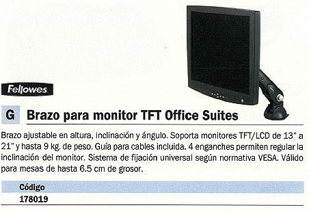 FELLOWES BRAZO MONITOR TFT HASTA 21 PULGADAS GUIA PARA CABLES INCLUIDA 8034401