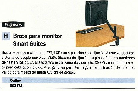 FELLOWES BRAZO MONITOR TFT HASTA 21 PULGADAS 8038201