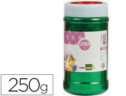 PURPURINA LIDERPAPEL FANTASIA COLOR VERDE METALIZADO BOTE DE 250 GR