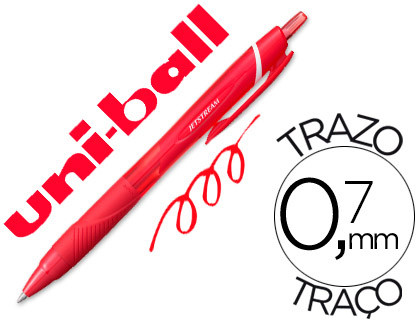 ENVASE DE 10 UNIDADES BOLIGRAFO UNI-BALL ROLLER JETSTREAM SXN157C RETRACTIL 0,7 MM COLOR ROJO