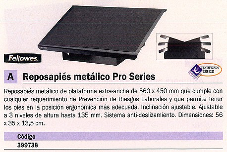 FELLOWES REPOSAPIES PRO SERIES METÁLICO AJUSTABLE 8064101