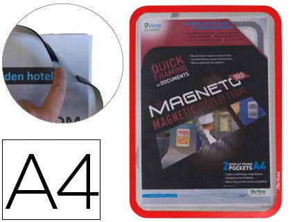 Marcos porta anuncios MARCO PORTA ANUNCIO MAGNETICO TARIFOLD DIN A4 EN PVC COLOR ROJO PACK DE 2 UNIDADES