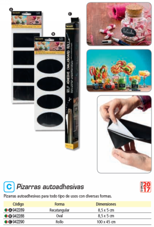 SECURIT PACK DE 8 PIZARRAS AUTOADHESIVAS A FORMA OVAL CS OVAL 8