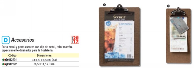 SECURIT PORTACUENTA CON PINZA EN METAL. 26,5X11 CM MC CBBP BR