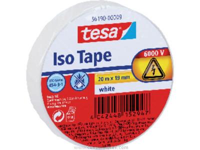 TESA CINTAS AISLANTE 19 MM X 20 M. COLORBLANCO. HASTA 6000 VOLTIOS REF. 56190-00009-02.