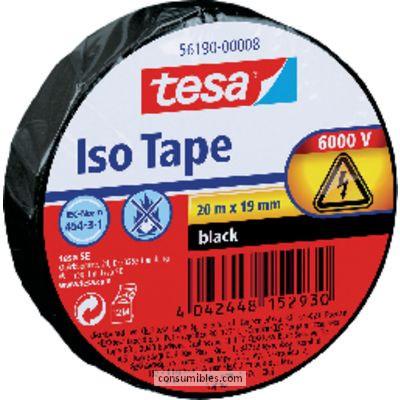 TESA CINTA AISLANTE DE ELECTRICIDAD 19 MM X 20 M. COLORNEGRO. HASTA 6000 VOLTIOS REF. 56190-00008-02