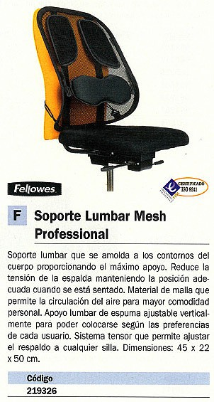 FELLOWES LUMBAR MESH PROFESSIONAL 8029901
